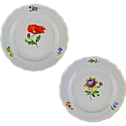 Pair Early Meissen Crossed Swords First Quality Floral Plates - c. 19th/20th Century, Germany