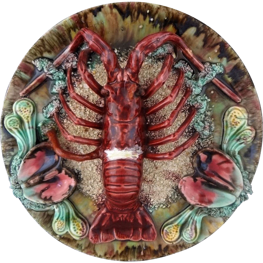 Three Dimensional Majolica Pottery Plate Lobster And