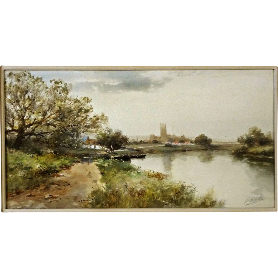 Watercolor Landscape River Signed F. F. English American Impressionist - c. 1905, USA