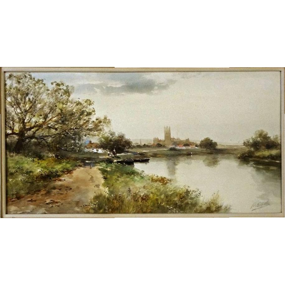 Watercolor Landscape River Signed F. F. English American Impressionist - c. 1905, USA