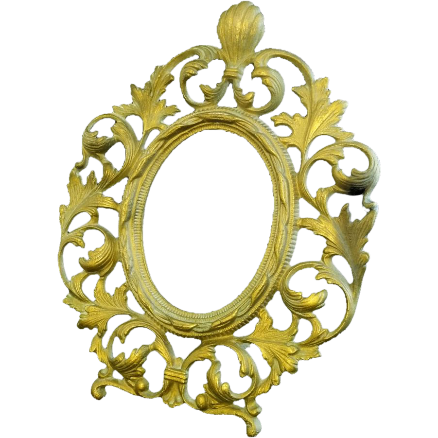 Cast Iron Oval Bronze Patina Picture Frame Marked Warner