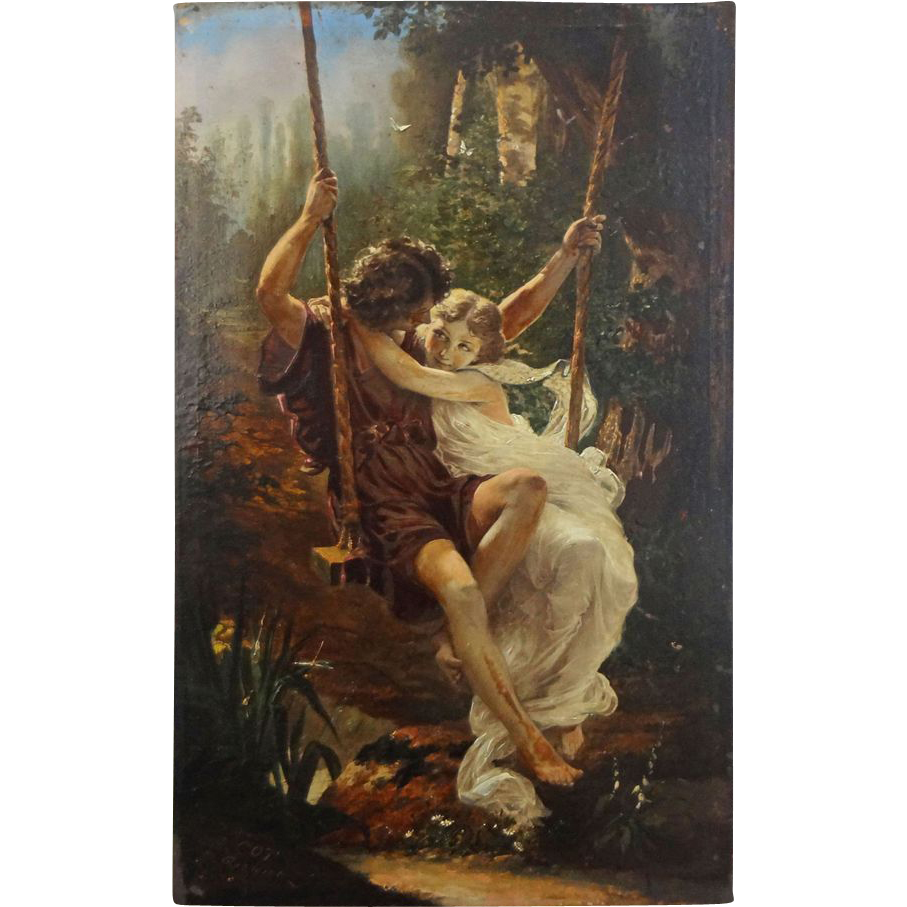 Painted Print Young Couple on Swing after Auguste Cot's Spring
