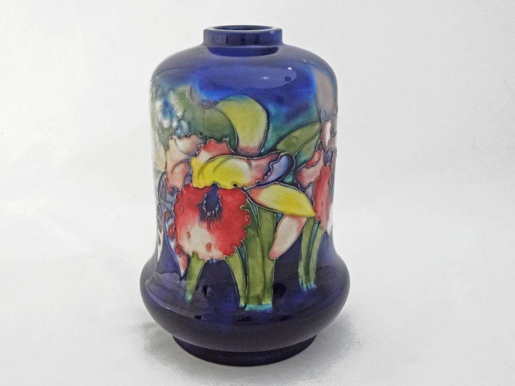 Moorcroft Orchid Pattern Pottery Lamp Base Cobalt Blue