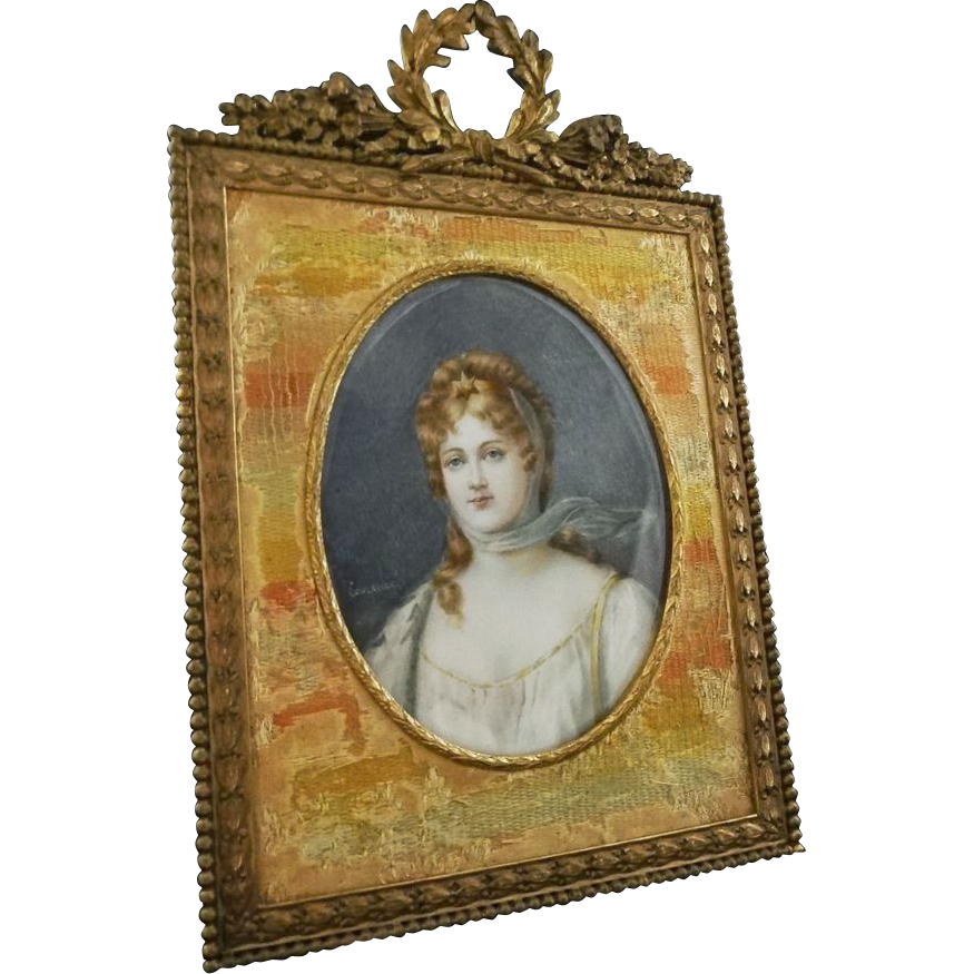 Miniature Portrait Queen Louise of Prussia signed Laurence in Bronze Frame - c. 19th Century, France