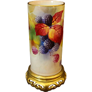 Royal Worcester Vase Berries Signed K. Blake Gilt Pierced Base - circa 1936, England