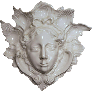 White Pottery Wall Pocket Face Mask by Mottahedeh - 20th Century, Italy