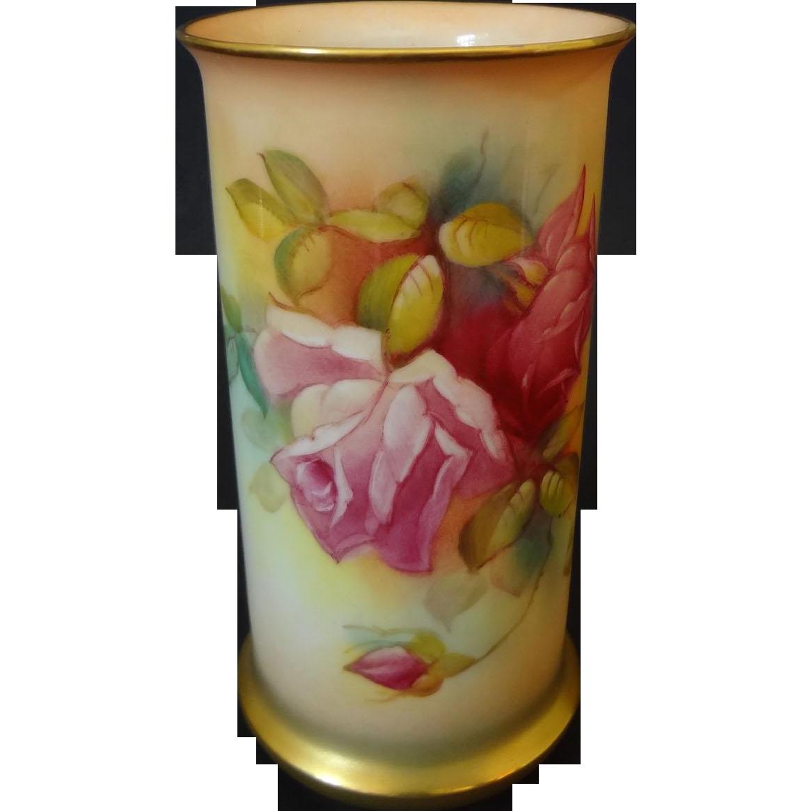 Royal Worcester Blush Ivory Porcelain Vase Roses Signed M. Hunt - circa 1941, England