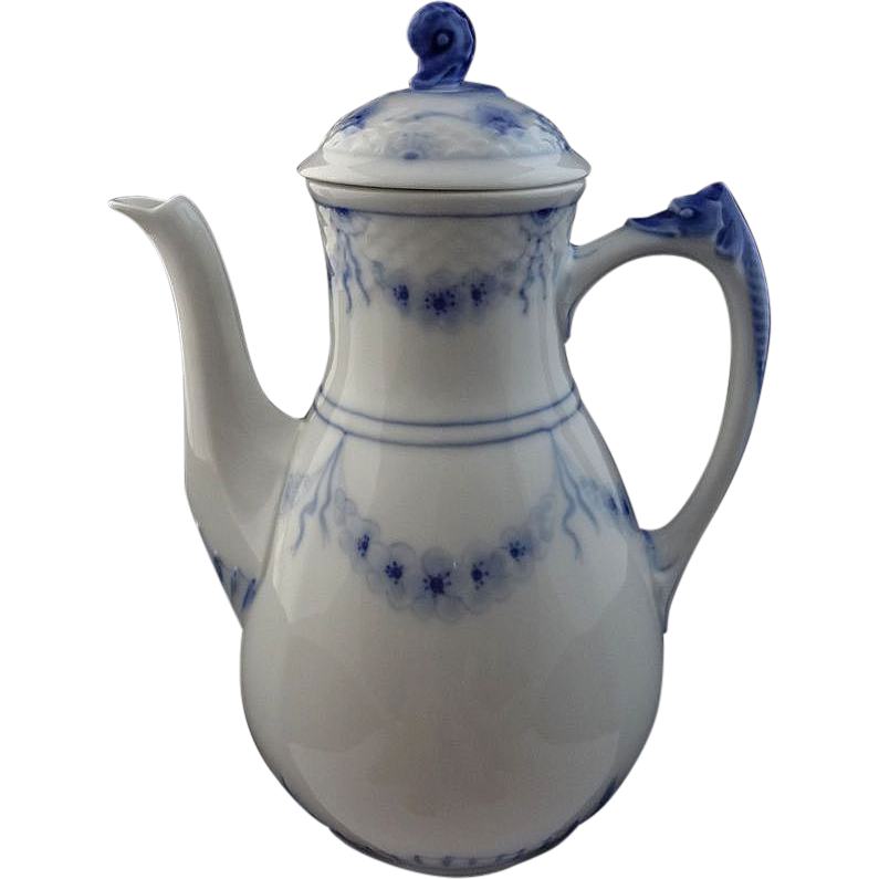 Bing & Grondahl Danish Traditional Porcelain Blue White Sea Horse Large Coffee Pot - c. 1948-1951, Denmark