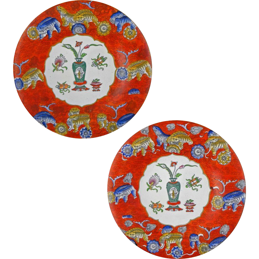 Pair Antique Red Chinoiserie English Ashworth Ironstone Plates - 1862 to 1880, England