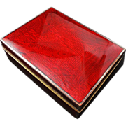 Japanese Cloisonne Enamel Rectangular Box Red Fish Signed S Inaba Kyoto, Japan
