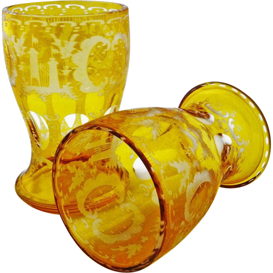 Pair of Matching Bohemian Amber and Clear Crystal Glasses - 20th Century, Bohemia