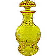 Bohemian Amber Cut Crystal Bottle / Decanter Original Stopper - c. 20th Century, Bohemia