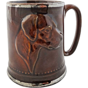 English Pottery Hunt Theme Mug Dog and Riding Gear - 20th Century, England