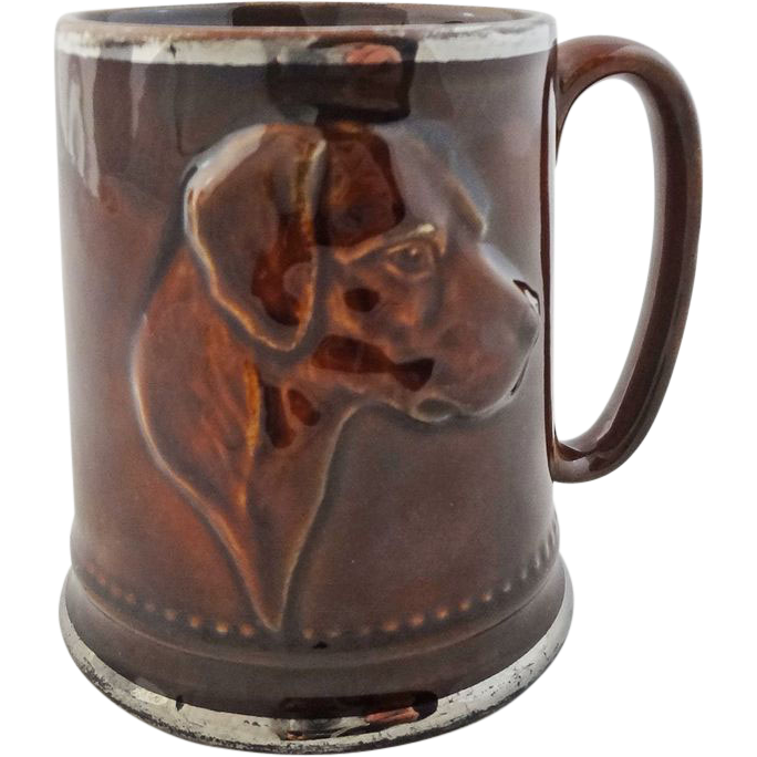 English Pottery Hunt Theme Mug Dog and Riding Gear - 20th Century, England
