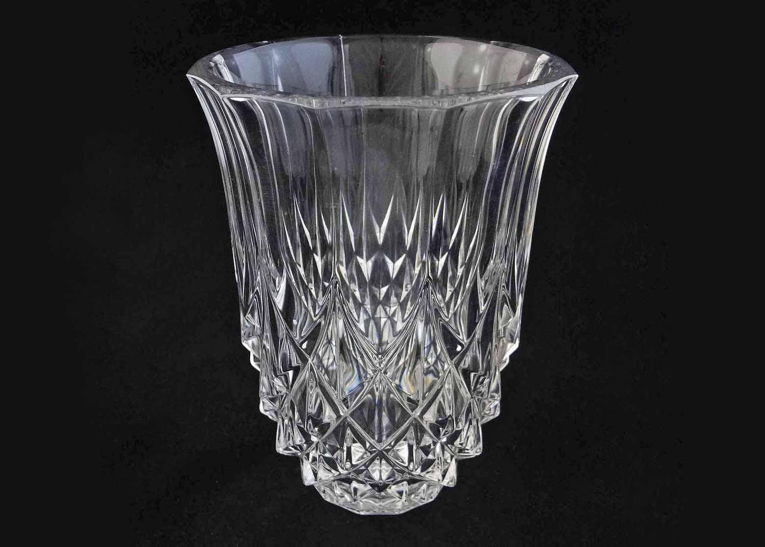 "Val St Lambert Large 8"" Crystal Vase Clear - 20th Century, Belgium"