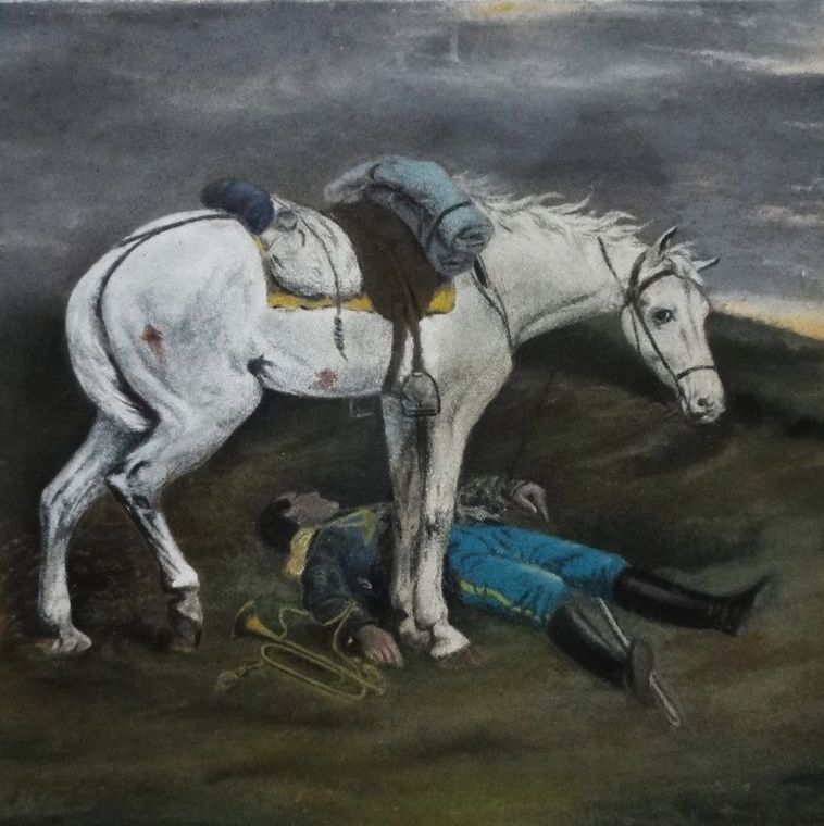Pastel Drawing of Fallen Soldier Cavalry Bugler and White Horse - c. 19th/20th Century, USA