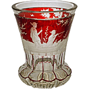 Antique Bohemian Beaker Hunt Scene Glass Beaker Etched - c. 19th Century, Bohemia