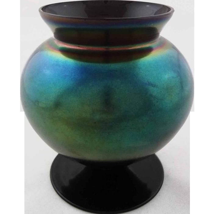 Vintage Bohemian Iridiscent Vase Blue Green Wide Mouth - 1918-1993, Czechoslovakia