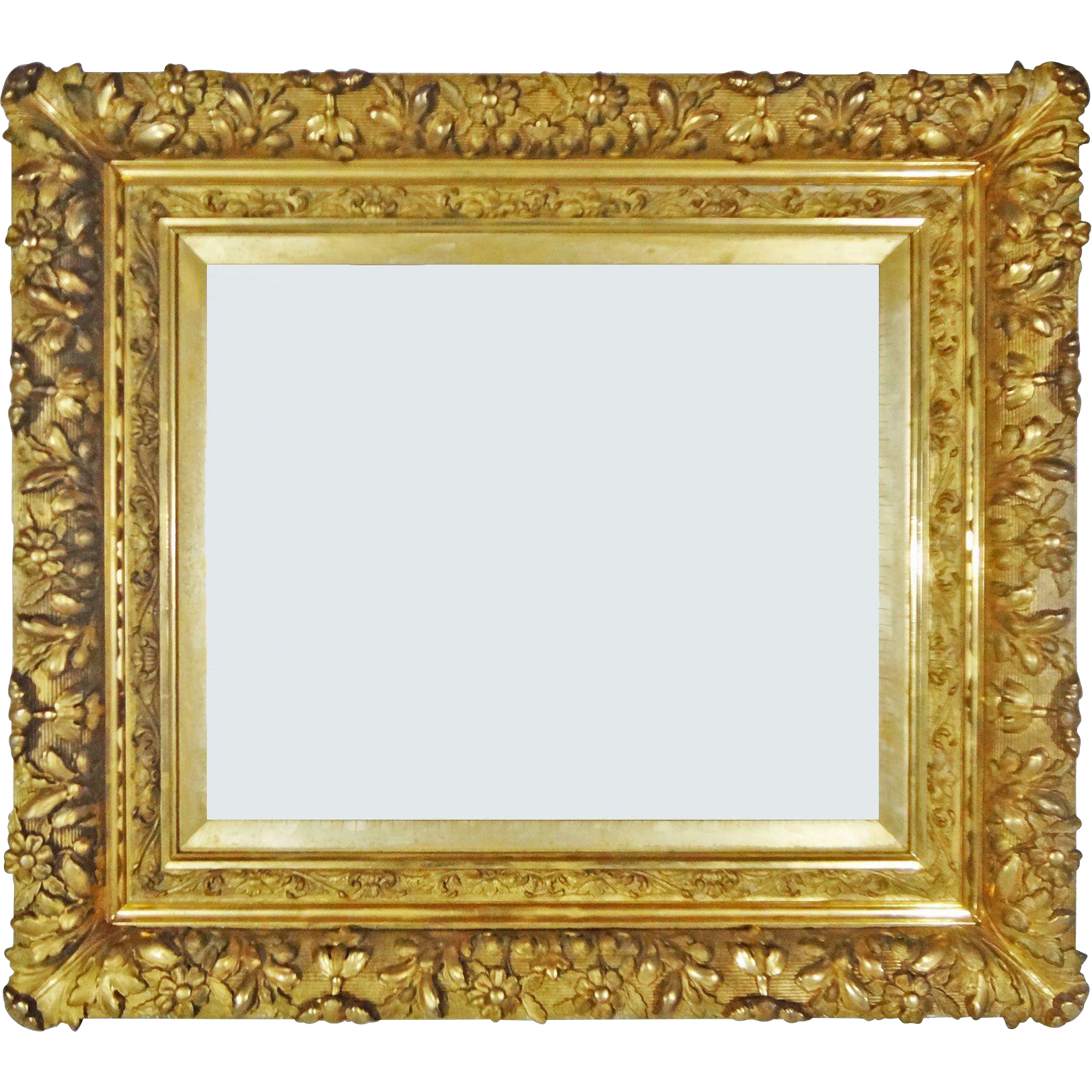 Antique French Louis XIII Style Barbizon Gilt Wood Gesso Picture / Mirror Frame - circa 1850-1870