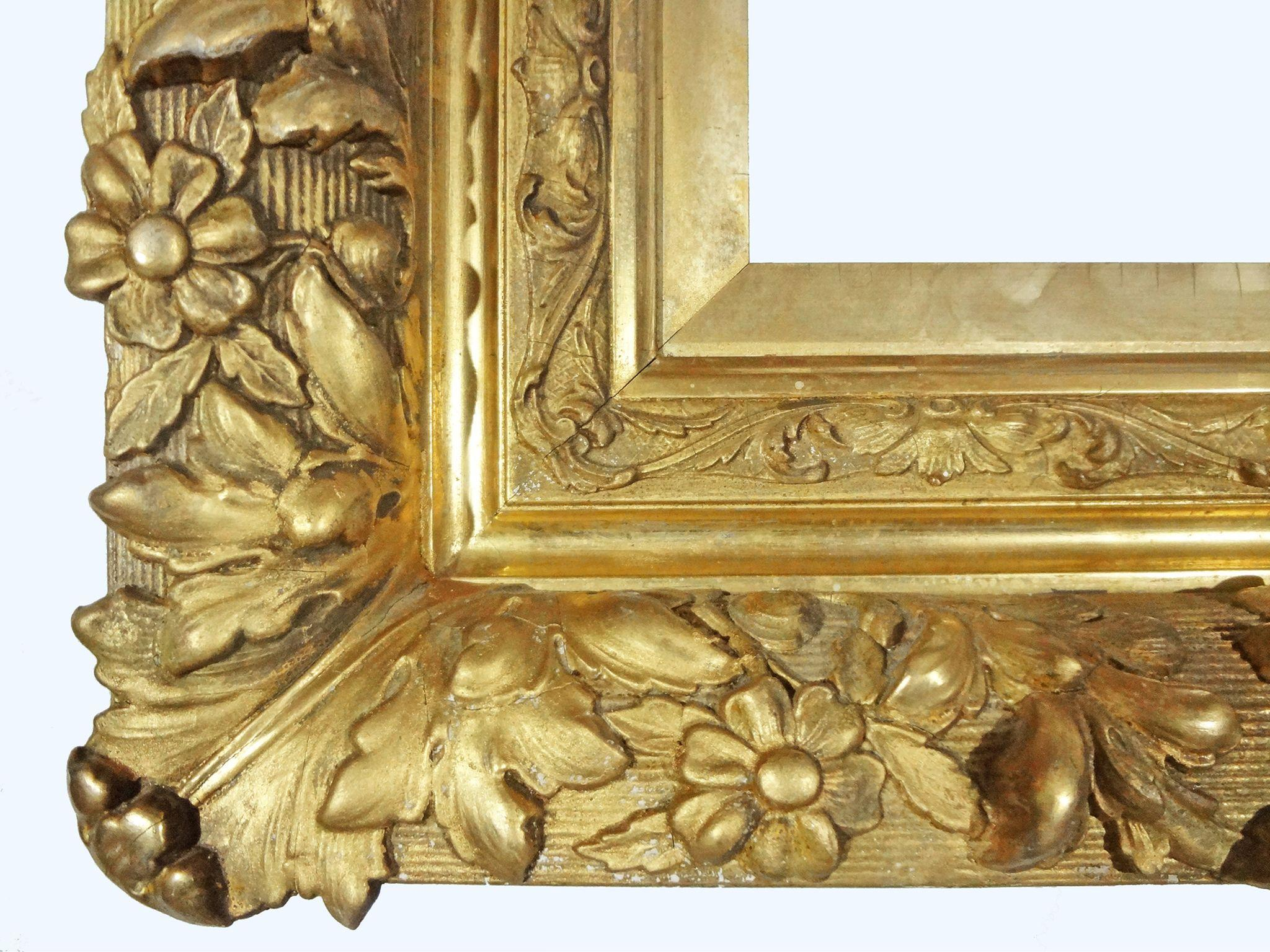 Antique french louis xiii style barbizon gilt wood gesso for Mirror frame styles