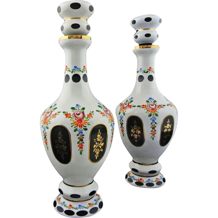 Pair of Bohemian Decanters Cut Glass White Green - 20th Century, Czechoslovakia