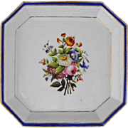 Early Antique Octagonal Porcelain Bowl / Plate / Dish Floral, Cobalt and Gilt