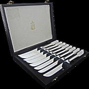 Set of 8  Kirk & Matz Sheffield Steak Knives Stainless Steel - 20th Century, England