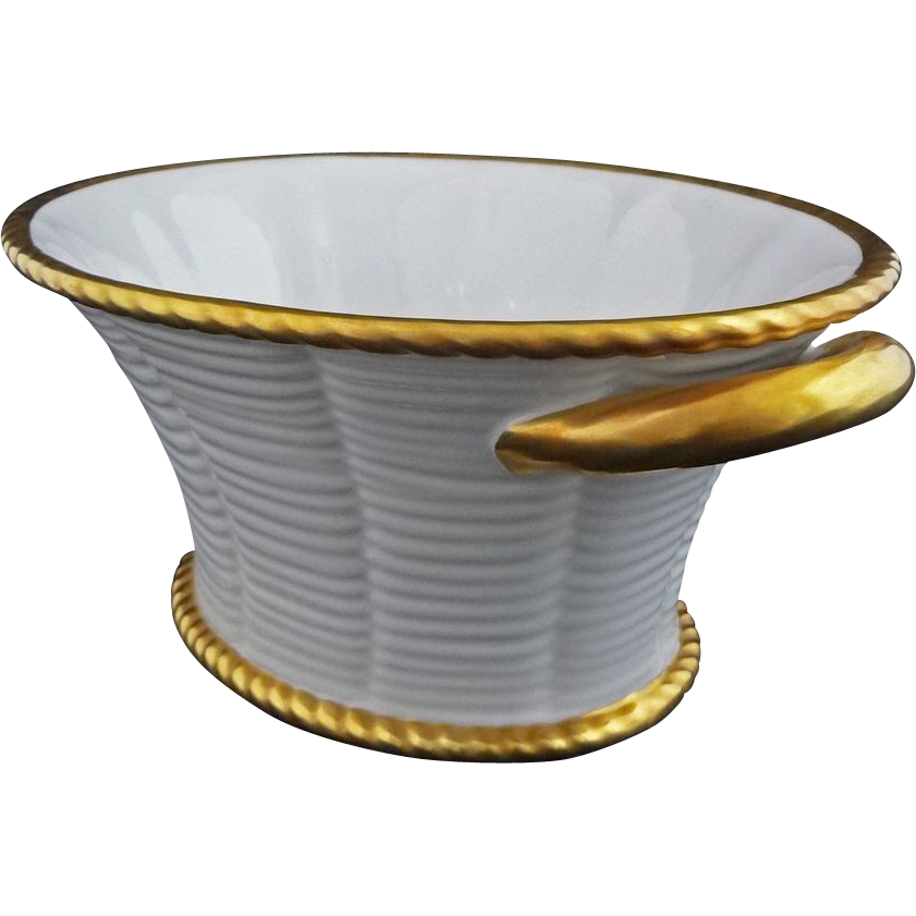 White and Gilt Porcelain Basket / Console  Bowl by Vista Alegre - 20th Century, Portugal
