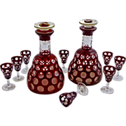 Pair Antique Ship Decanters and 8 Matching Cordial Glasses Red Punty Pattern