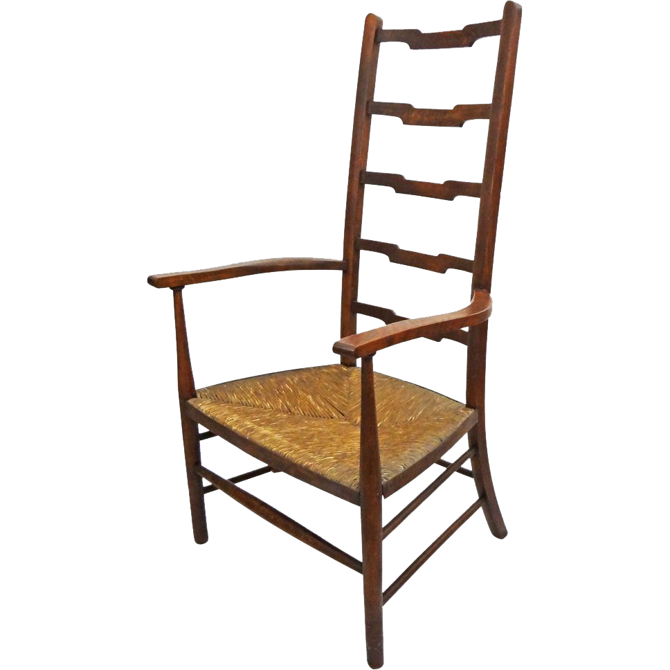 Arts and crafts movement style ladder back arm chair rush Ladder back chairs