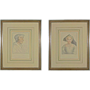 Pair Nobility Portraits after Holbein Tinted Engravings - c. 19th Century, England