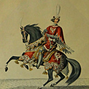Pair Medieval Mounted Swiss Officers Graf Von Greyerz and Hans Waldmann  Color Lithographs