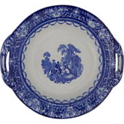 Antique Doulton Watteau Blue White Transferware Footed Serving Bowl - c.1900's, England