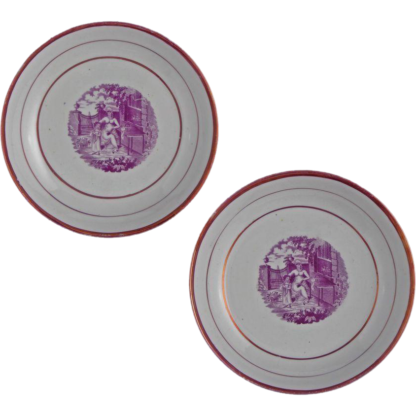 Pair Antique Printed Porcelain Puce Lusterware Bowls - c.1850, England