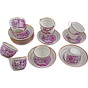 Set of Ten Antique English Printed Porcelain Cups and Saucer Puce Lusterware - c. 1820, England