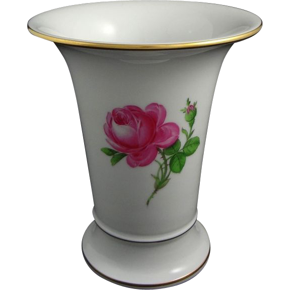 Meissen Large Pink Rose Porcelain Vase Crossed Swords Mark - 20th Century, Germany