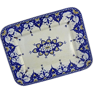 Sarrreguemines Cluny French Provence Faience Rectangular Serving Platter Blue White - 1875 to 1900, France