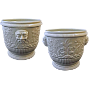 Pair Limoges after St Cloud Ceramic Wine Bottle Cooler / Cache Pot / Planter /Jardiniere - 20th Century, France