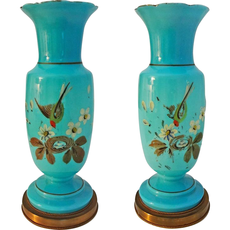Pair Turquoise Color Opaline Table Lamps Bases Painted Birds