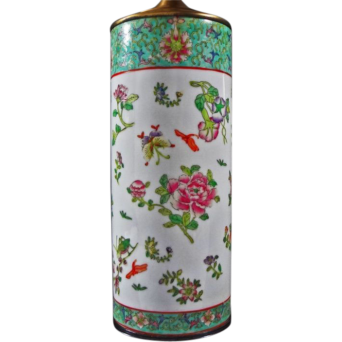 Famille Rose Style Porcelain Lamp Base / Vase - 20th Century, China