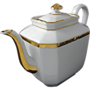 Early Old Paris Set Tea Pot and Sugar Bowl White Gilt Porcelain - c. 19th Century, France
