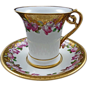 Antique Minton Porcelain Cabinet Cup and Saucer  - 1873-1912, England