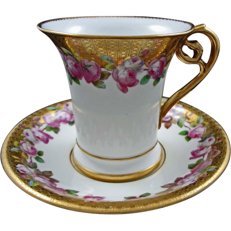 Wright, Tyndale & Van Roden Porcelain Cup & Saucer  - 19th Century, England