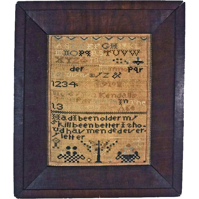 Schoolgirl Needlework Sampler Mersylvia Kendall - 1801, New Hampshire