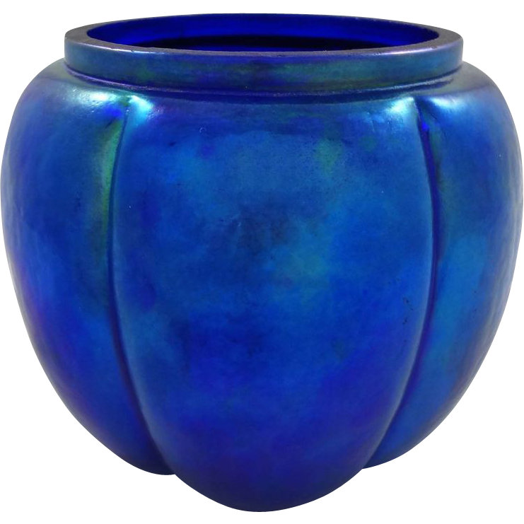 Blue Iridescent Art Glass Melon-Shaped Jar