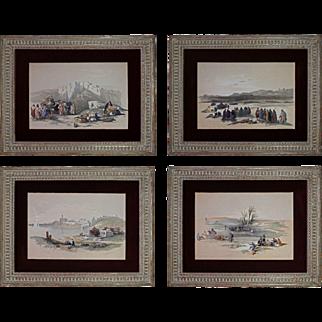 Set 4 Arabian Theme Lithographs Signed David Roberts R. A.