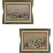 Pair Jaffa and Petra Color Lithographs after David Roberts R. A. - 19th Century, England