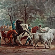 Watercolor after The Horse Fair by Rosa Bonheur signed B. Cohen - late 19th/early 20th Century, USA