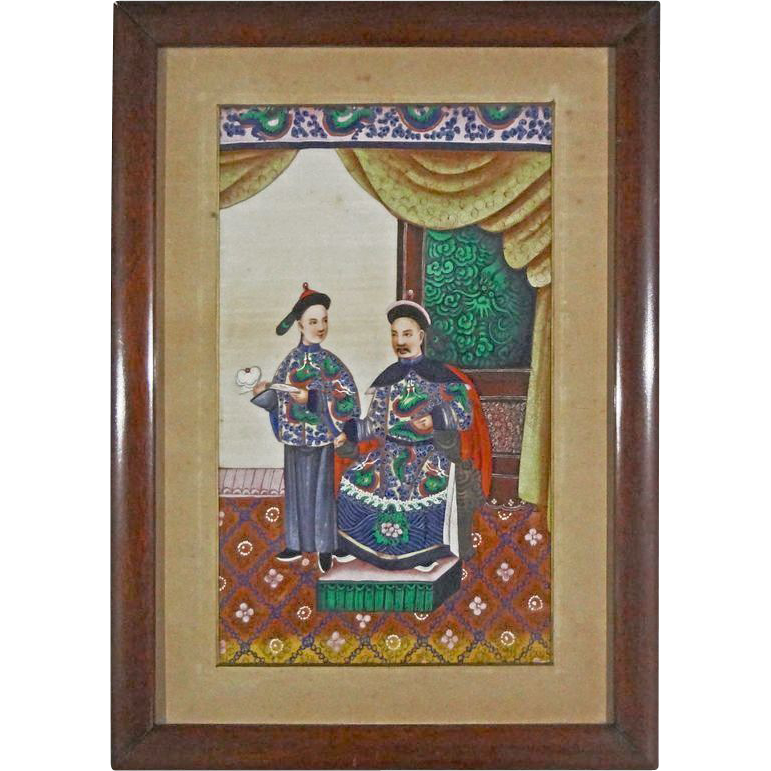 Antique Chinese Pith Painting Large - c. 1850, China