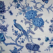 18 Yards Luxury Fabric Bailey & Griffin pattern Bird and Bough Blue / Indigo / White - copyright 1964, England